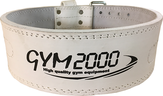 GYM2000 Powerlifting Belt hvitt skinn XL